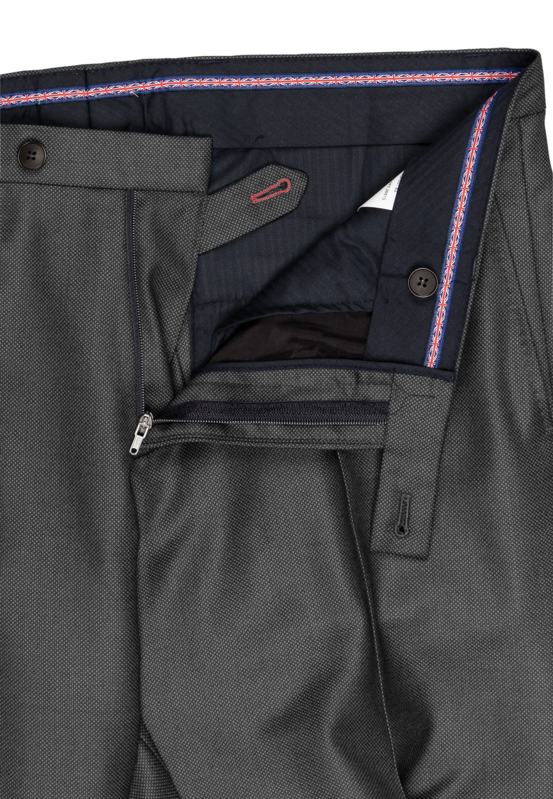 Slim Fit Kostuum Antraciet Guabello Savile Row broek detail
