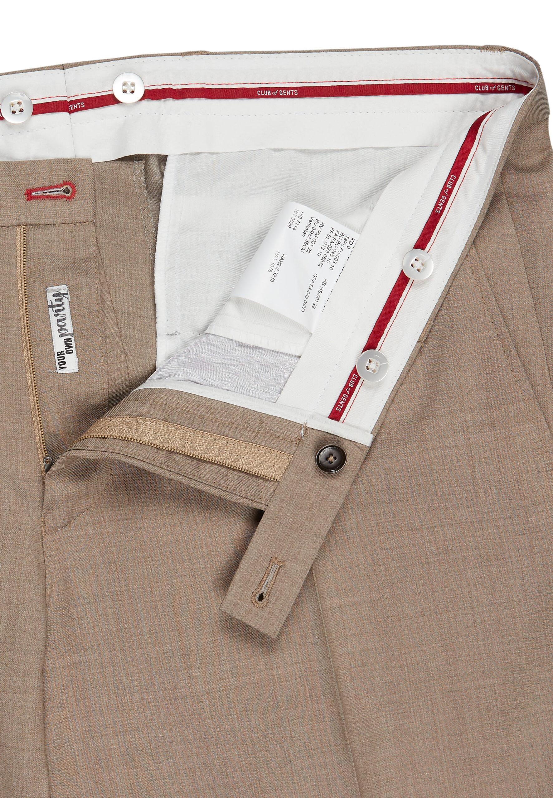 Slim Fit Kostuum Beige Marzotto broek detail
