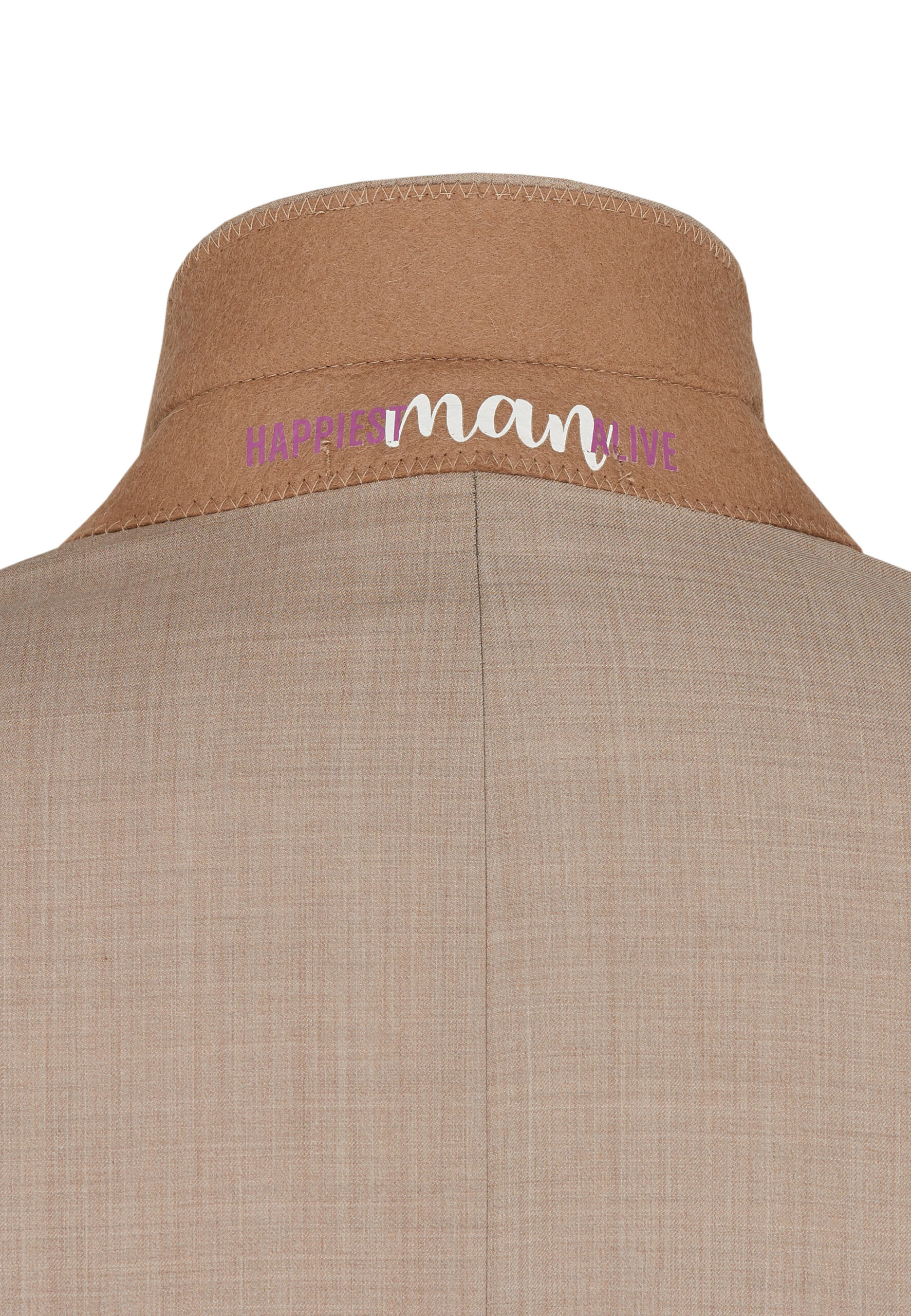 Slim Fit Kostuum Beige Marzotto nek detail