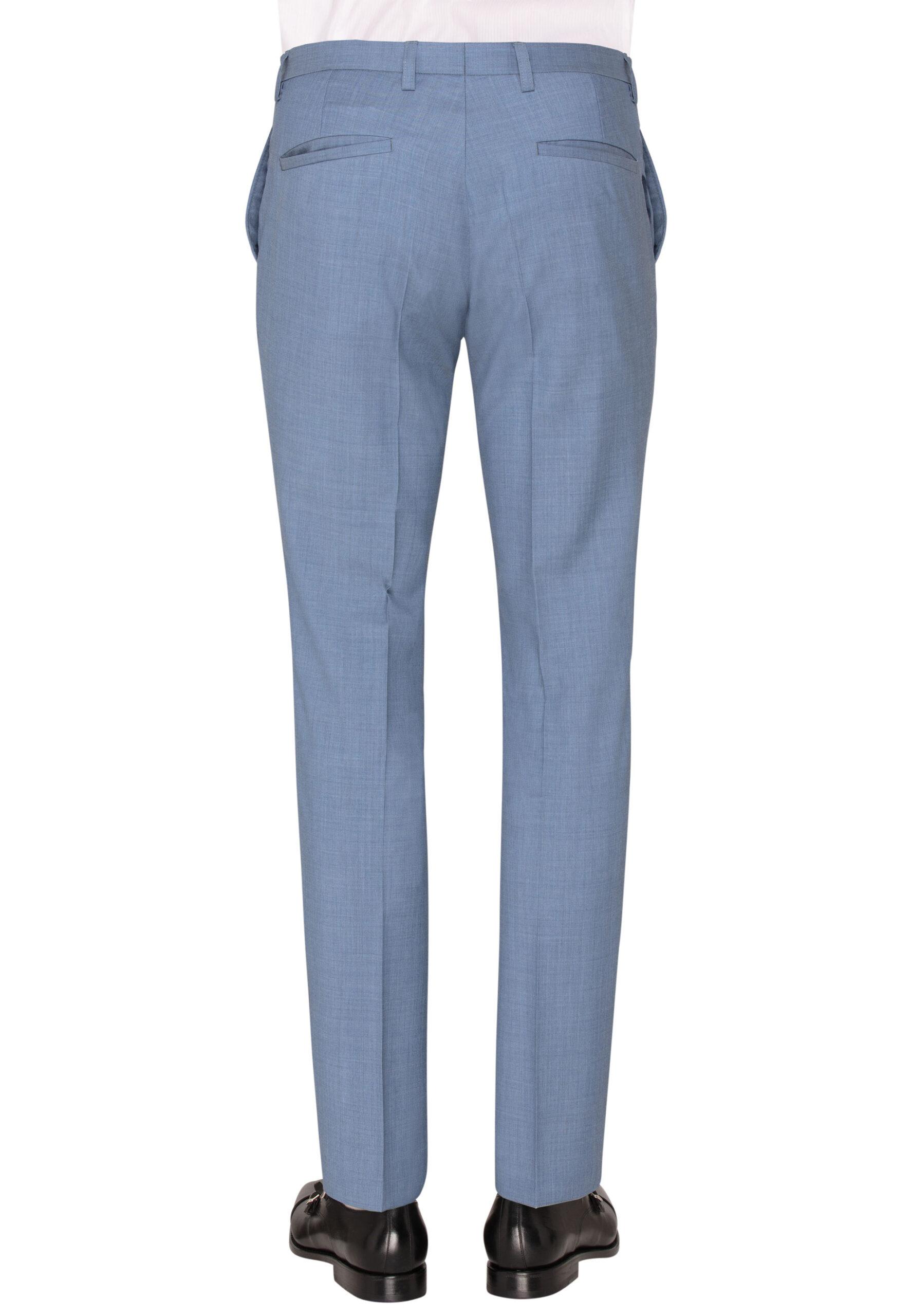 Lichtblauw kostuum broek achter