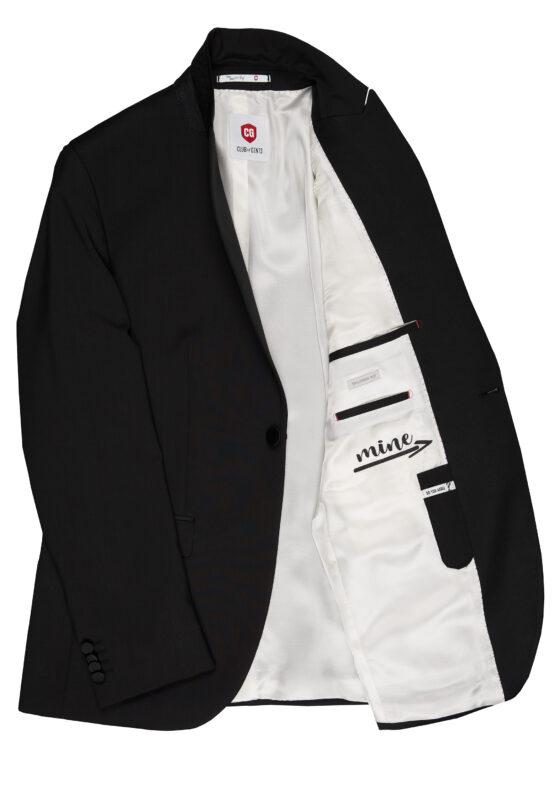 Slim Fit Smoking Zwart jas detail