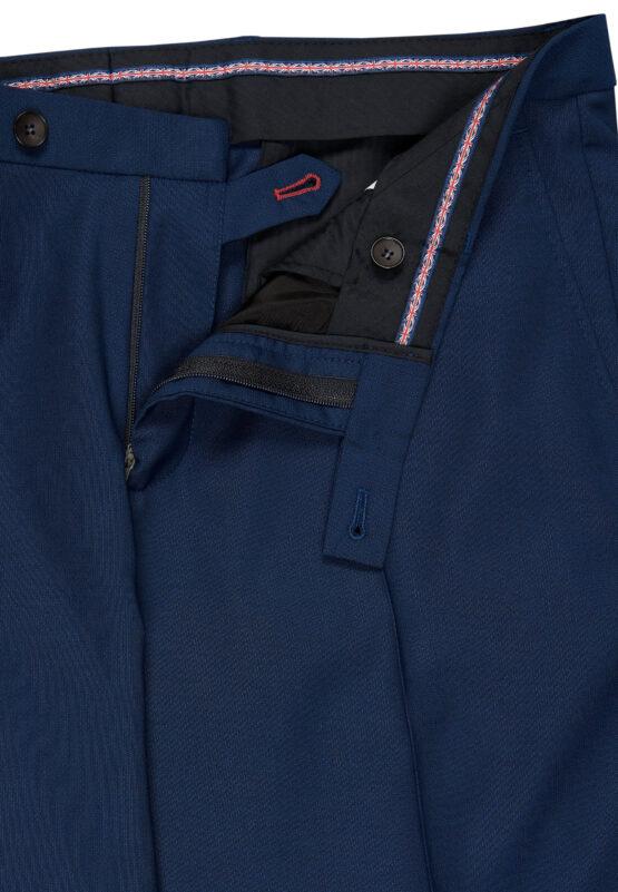 Slim Fit Kostuum Napolitaans blauw broek detail