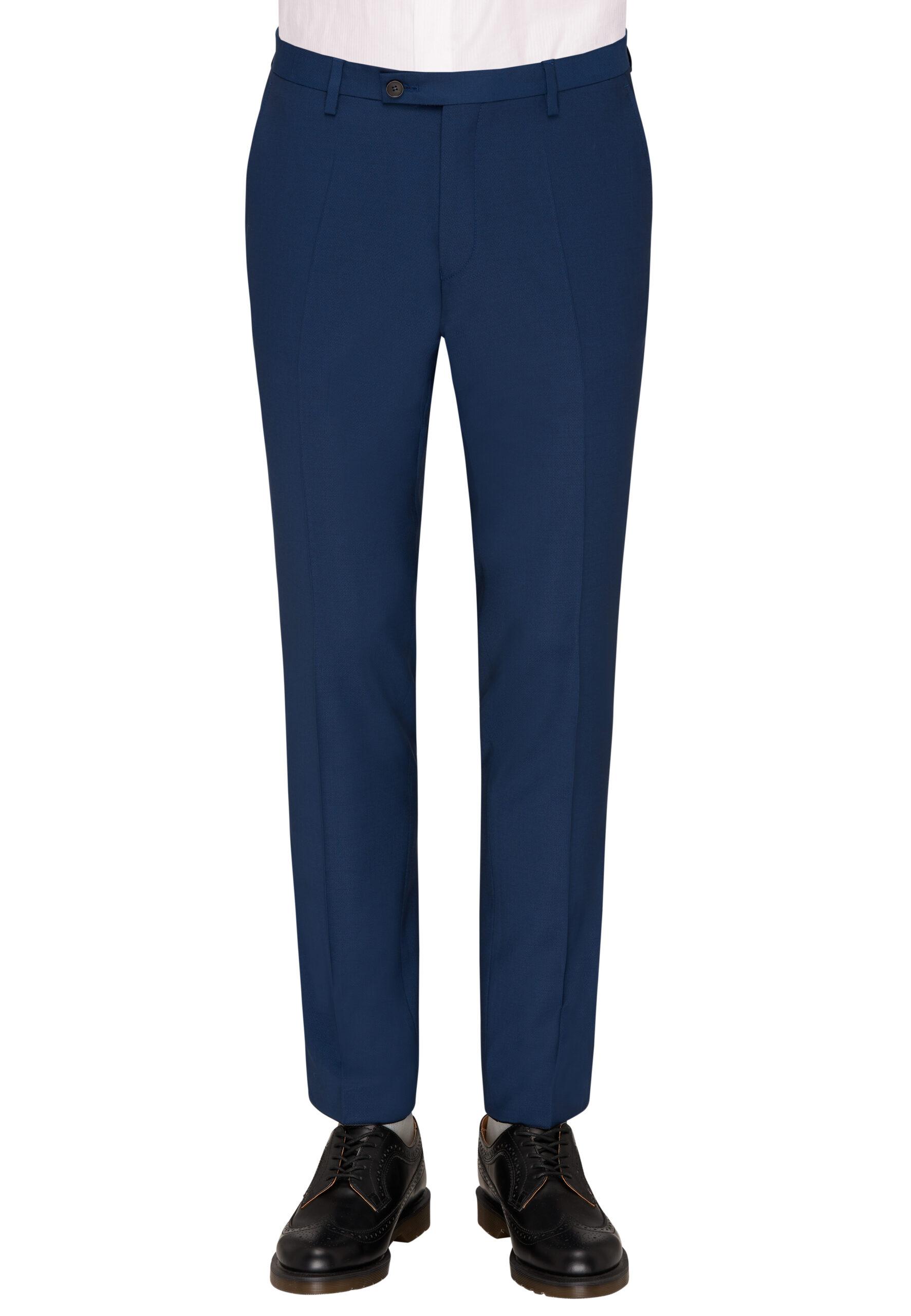 Slim Fit Kostuum Napolitaans blauw broek voor