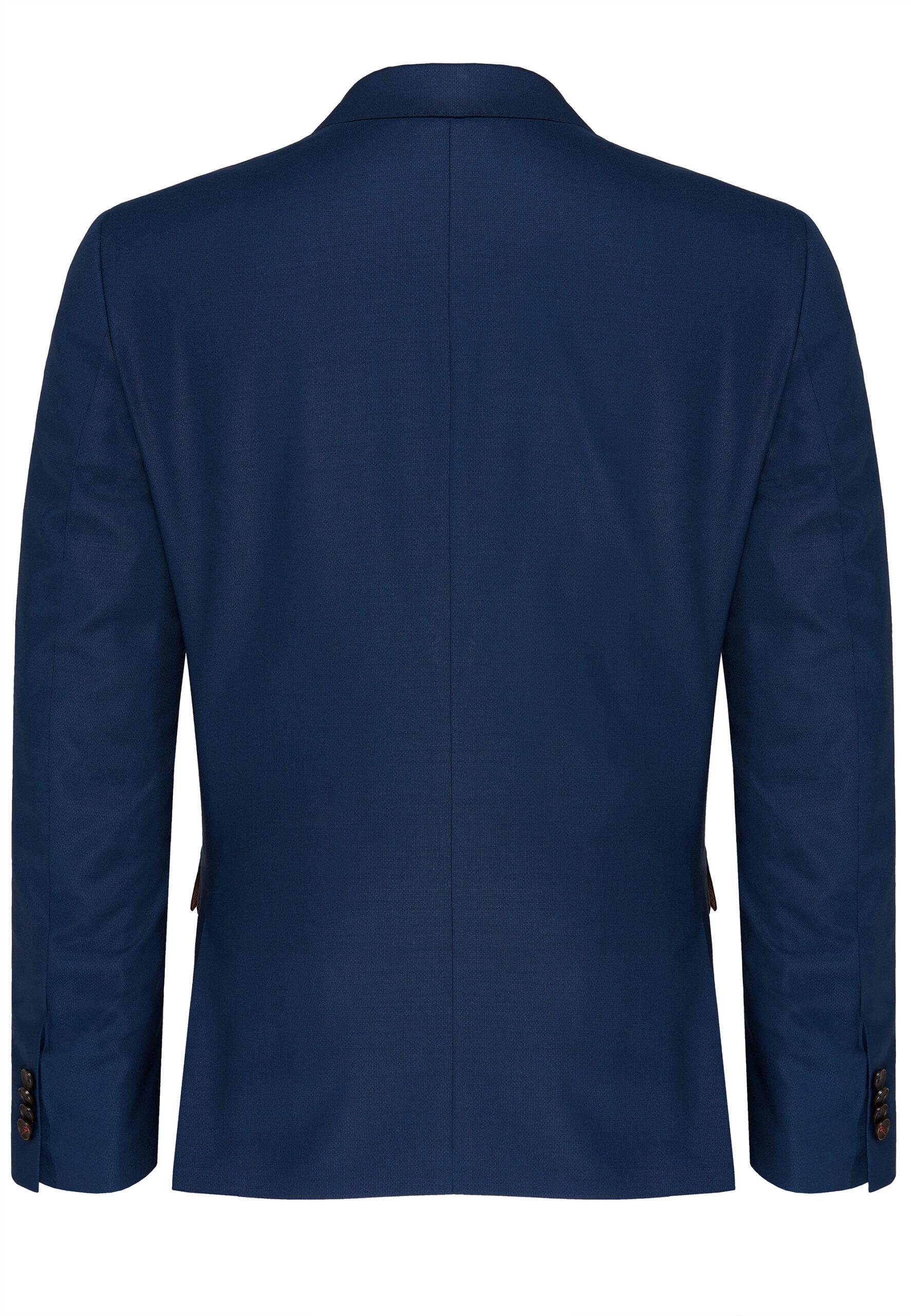 Slim Fit Kostuum Napolitaans blauw jas achter