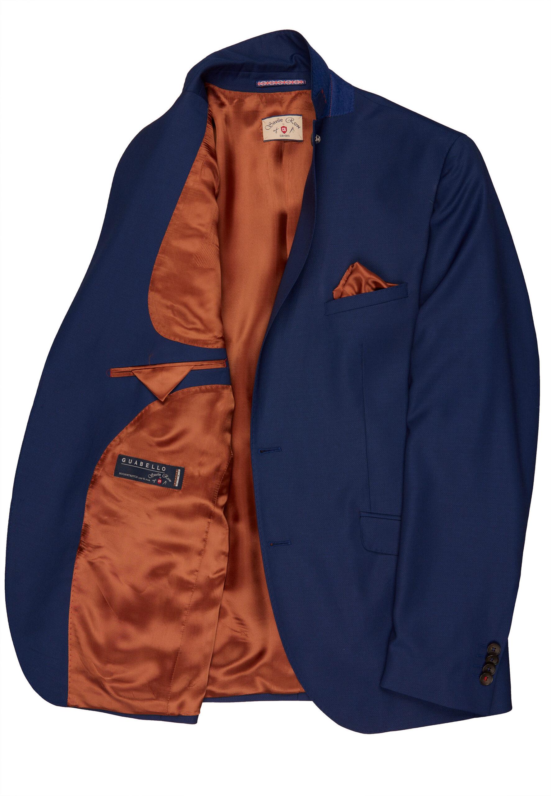 Slim Fit Kostuum Napolitaans blauw jas detail