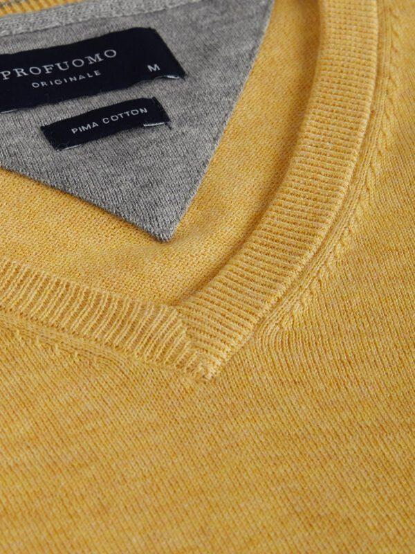 V-Hals trui katoen geel detail