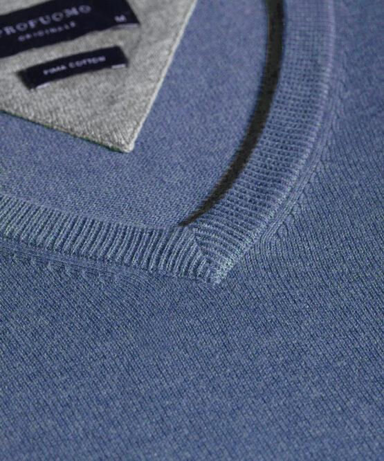V-Hals trui katoen jeans blue detail