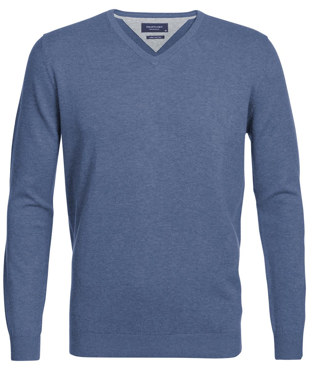 V-Hals trui katoen jeans blue
