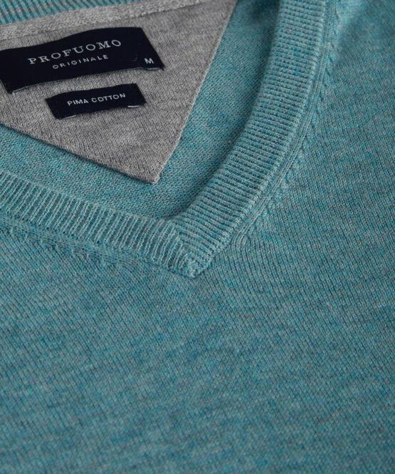 V-Hals trui katoen turquoise detail